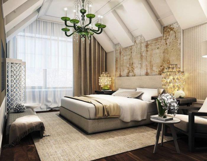 дизайн оформления спальни мансарды