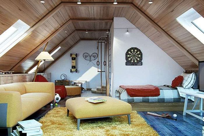 отделка спальни на мансарде