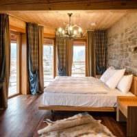 спальня в деревянном доме современный интерьер