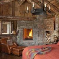 спальня в деревянном доме рустик