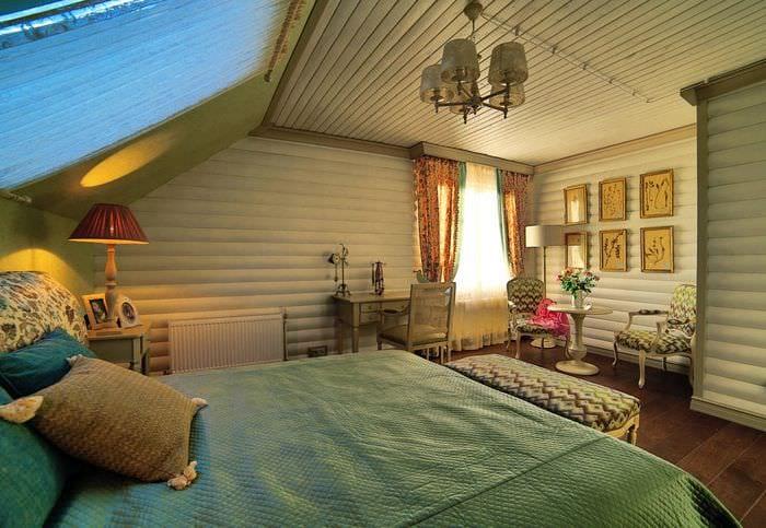 спальня в деревянном доме прованс