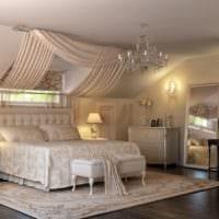 спальня на мансарде декор фото