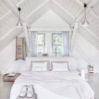 спальня на мансарде стильный интерьер