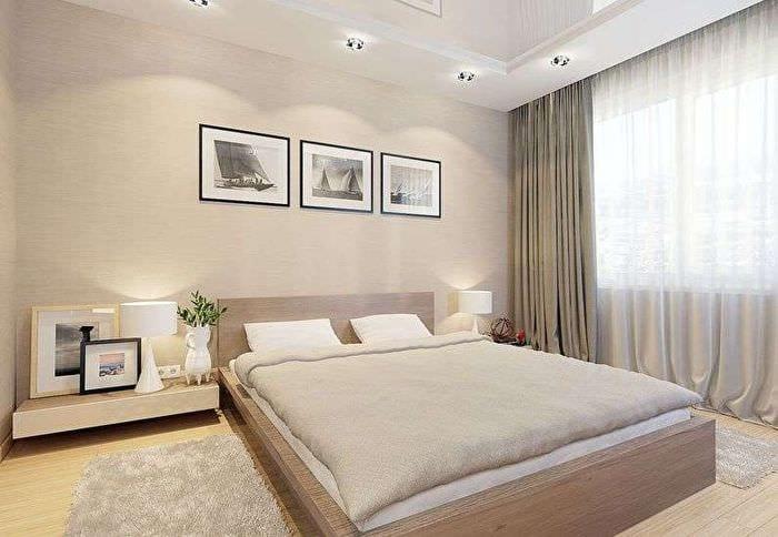 светлый дизайн спальни в хрущевке