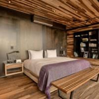 спальня в деревянном доме ультрасовременный интерьер