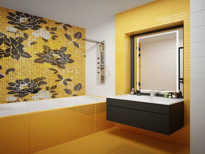 плитка в ванной с рисунком