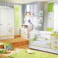детская комната для новорожденного бело зеленая