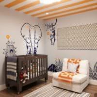 детская комната для новорожденного коричневая кровать