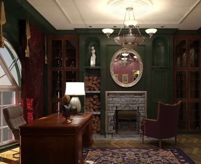 дизайн кабинета английский стиль