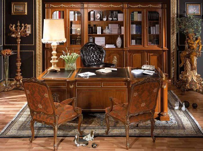 классический дизайн кабинета