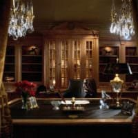 дизайн кабинета с большим столом