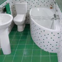 интерьер маленькой ванной с плиткой