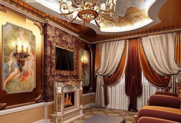 гостиная классика шторы