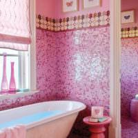плитка для ванной комнаты розовая