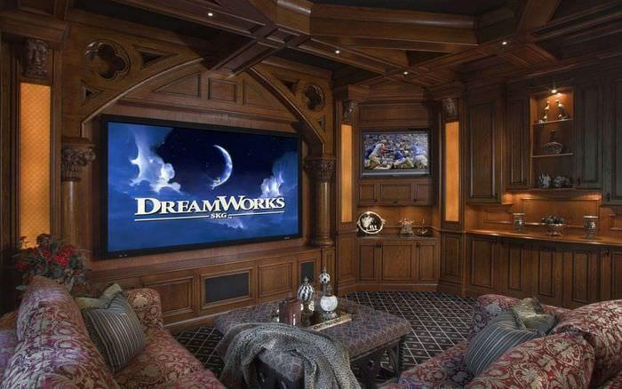 уютный дизайн домашнего кинотеатра