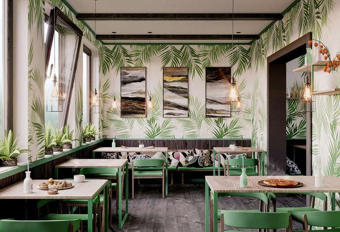 зеленый дизайн кафе