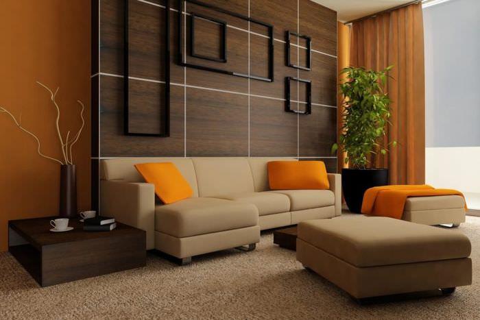 Декоративное панно из геометрических фигур в интерьере гостиной