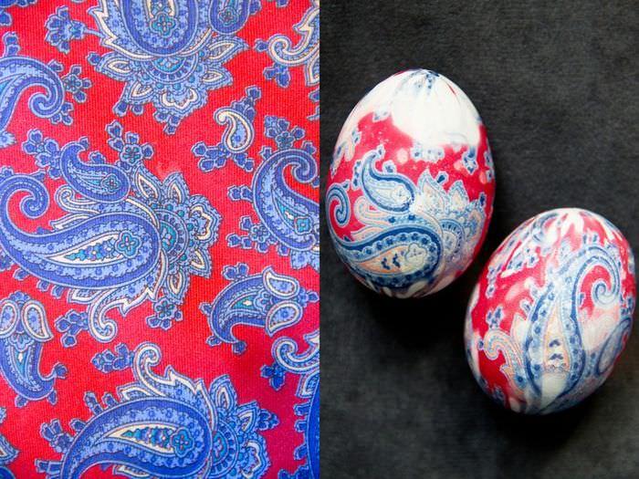 Декорирование пасхальных яиц с помощью яркой шелковой ткани
