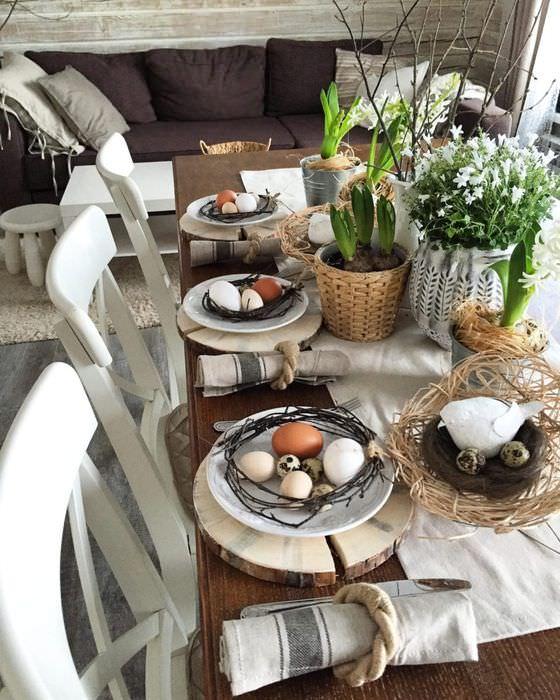 Сервировка пасхального стола в стиле рустик