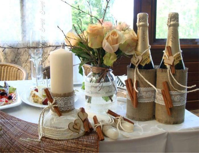 Оформление свадебного стола своими руками в стиле Рустик