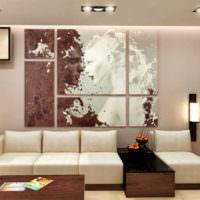 Полотна модульной картины над диваном