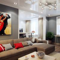 Декорирование стены в гостиной картинами
