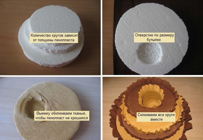 Изготовление подставки из пенопласта для бутылки коньяка
