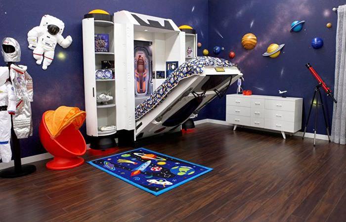 Оформление детской комнаты для ребенка, увлеченного астрономией