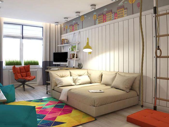 Угловой диван в интерьере детской комнаты