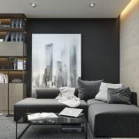 Дизайн гостиной в серых и черных тонах