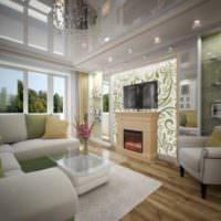 Зеркальный потолок в интерьере жилой комнаты