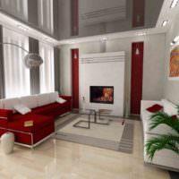 Глянцевый натяжной потолок в дизайне комнаты