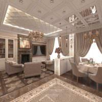 Богатое оформление гостиной, совмещенной с кухней