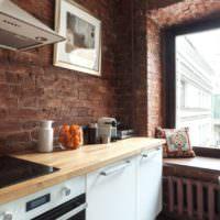 Кирпич в отделке кухонного помещения