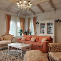 Просторная гостиная в стиле прованс на даче