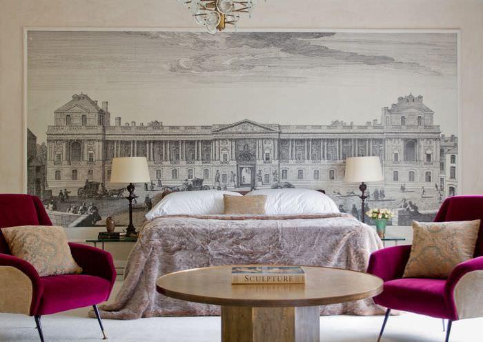 Фотообои в интерьере спальни в современном стиле