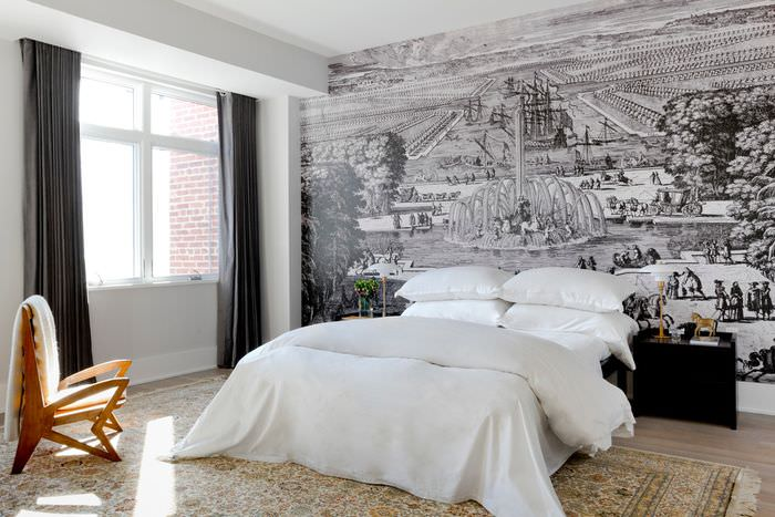 Фотообои в стиле ретро над изголовьем кровати