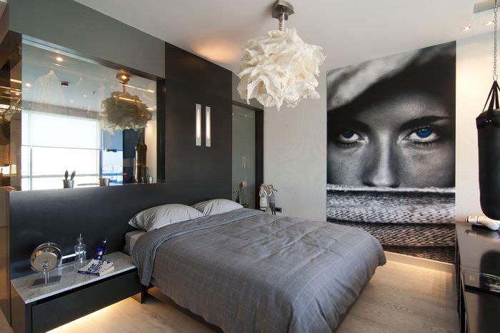 Фотообои в дизайне молодежной спальни в современном стиле
