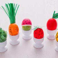 Декорирование пасхальных яиц под овощи своими руками