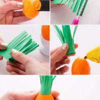 Порядок декорирования пасхального яйца в виде морковки