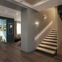 пример светлого интерьера лестницы в честном доме фото