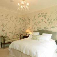 идея необычного оформления декора стен в спальне картинка