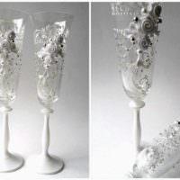 идея яркого украшения дизайна свадебных бокалов фото