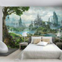 вариант яркого украшения дизайна стен в спальне фото
