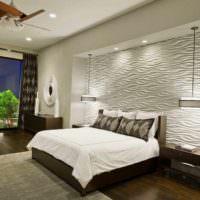 идея красивого оформления стиля стен в спальне картинка