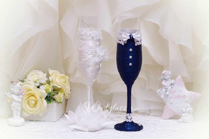 Идея для свадебных бокалов своими руками фото 683