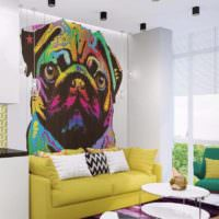 вариант яркого дизайна квартиры в стиле поп арт фото