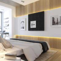 пример необычного украшения стиля стен в спальне картинка