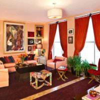 пример сочетания красивого персикового цвета в декоре квартиры картинка