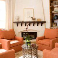 пример сочетания светлого персикового цвета в интерьере квартиры фото